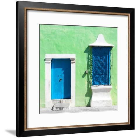 """¡Viva Mexico! Square Collection - """"172 Street"""" Blue & Green-Philippe Hugonnard-Framed Art Print"""
