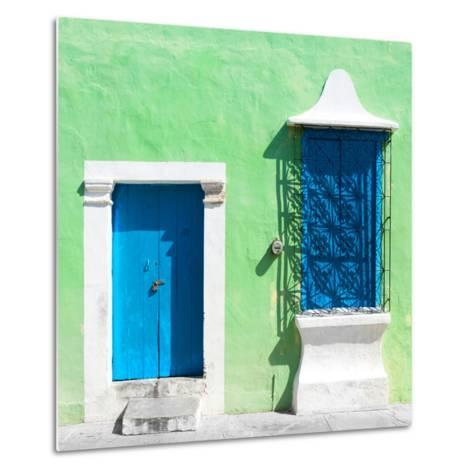 """¡Viva Mexico! Square Collection - """"172 Street"""" Blue & Green-Philippe Hugonnard-Metal Print"""