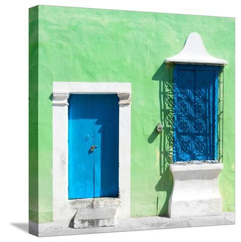 """¡Viva Mexico! Square Collection - """"172 Street"""" Blue & Green-Philippe Hugonnard-Stretched Canvas Print"""