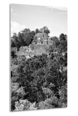 ¡Viva Mexico! B&W Collection - Pyramid in Mayan City of Calakmul VIII-Philippe Hugonnard-Metal Print