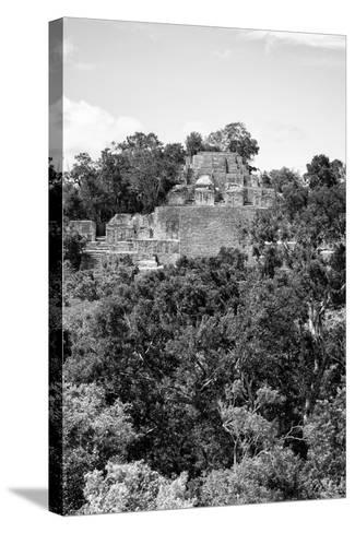 ¡Viva Mexico! B&W Collection - Pyramid in Mayan City of Calakmul VIII-Philippe Hugonnard-Stretched Canvas Print