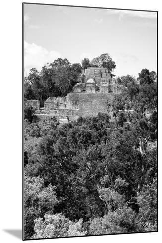 ¡Viva Mexico! B&W Collection - Pyramid in Mayan City of Calakmul VIII-Philippe Hugonnard-Mounted Photographic Print