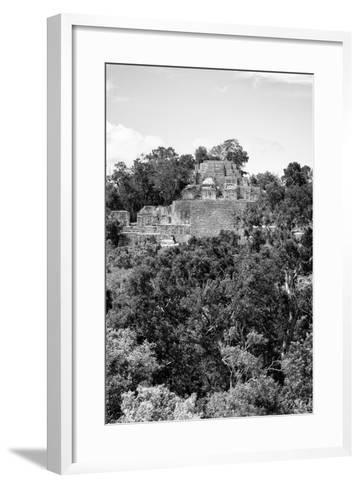 ¡Viva Mexico! B&W Collection - Pyramid in Mayan City of Calakmul VIII-Philippe Hugonnard-Framed Art Print