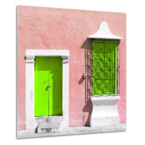 "¡Viva Mexico! Square Collection - ""172 Street"" Lime Green & Coral-Philippe Hugonnard-Metal Print"