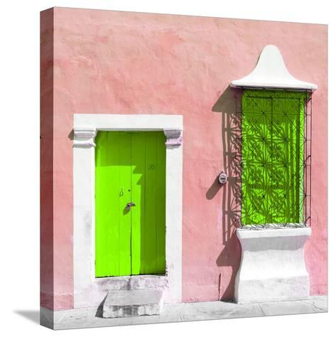 "¡Viva Mexico! Square Collection - ""172 Street"" Lime Green & Coral-Philippe Hugonnard-Stretched Canvas Print"