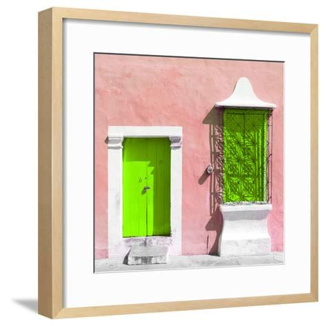 "¡Viva Mexico! Square Collection - ""172 Street"" Lime Green & Coral-Philippe Hugonnard-Framed Art Print"