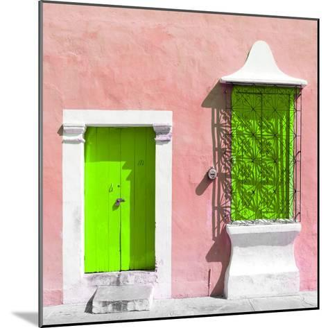 "¡Viva Mexico! Square Collection - ""172 Street"" Lime Green & Coral-Philippe Hugonnard-Mounted Photographic Print"