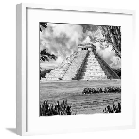 ¡Viva Mexico! Square Collection - El Castillo Pyramid - Chichen Itza XIV-Philippe Hugonnard-Framed Art Print