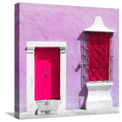 """¡Viva Mexico! Square Collection - """"172 Street"""" Deep Pink & Mauve-Philippe Hugonnard-Stretched Canvas Print"""