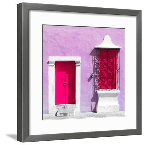 "¡Viva Mexico! Square Collection - ""172 Street"" Deep Pink & Mauve-Philippe Hugonnard-Framed Art Print"