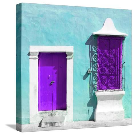 """¡Viva Mexico! Square Collection - """"172 Street"""" Purple & Turquoise-Philippe Hugonnard-Stretched Canvas Print"""