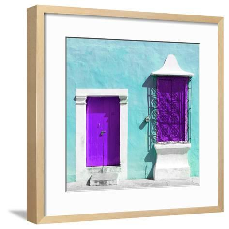"""¡Viva Mexico! Square Collection - """"172 Street"""" Purple & Turquoise-Philippe Hugonnard-Framed Art Print"""