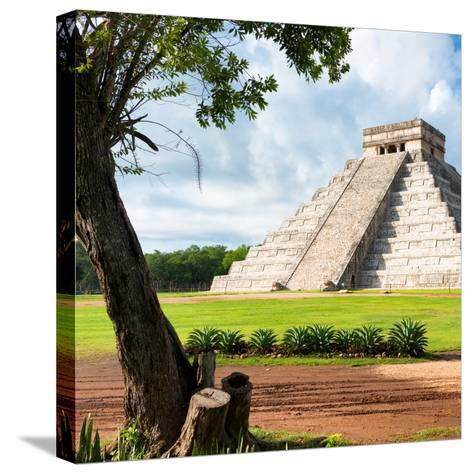 ¡Viva Mexico! Square Collection - El Castillo Pyramid - Chichen Itza XV-Philippe Hugonnard-Stretched Canvas Print