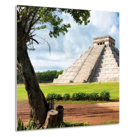 ¡Viva Mexico! Square Collection - El Castillo Pyramid - Chichen Itza XV-Philippe Hugonnard-Metal Print