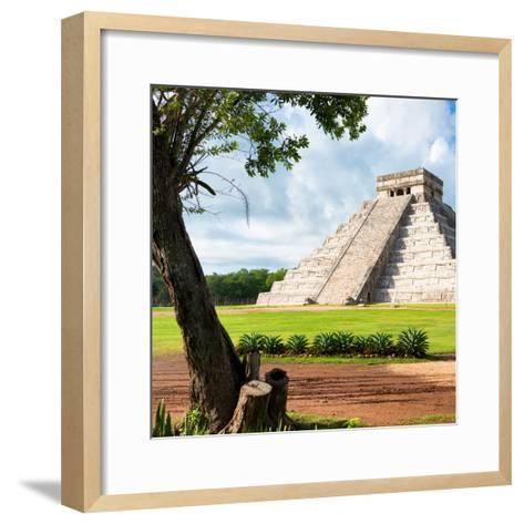 ¡Viva Mexico! Square Collection - El Castillo Pyramid - Chichen Itza XV-Philippe Hugonnard-Framed Art Print