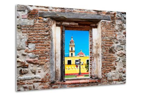 ¡Viva Mexico! Window View - Courtyard of a Church in Puebla-Philippe Hugonnard-Metal Print
