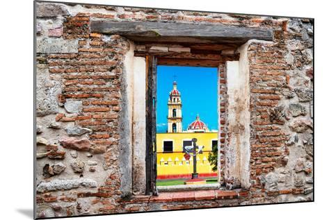 ¡Viva Mexico! Window View - Courtyard of a Church in Puebla-Philippe Hugonnard-Mounted Photographic Print