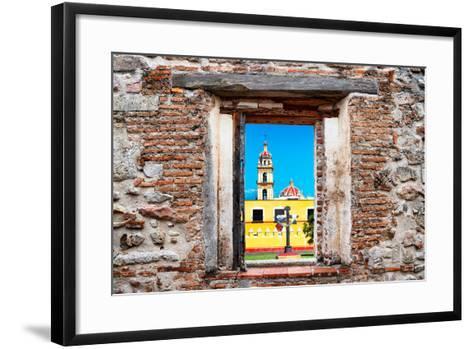 ¡Viva Mexico! Window View - Courtyard of a Church in Puebla-Philippe Hugonnard-Framed Art Print