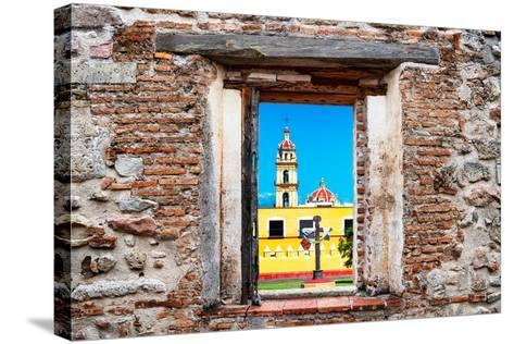 ¡Viva Mexico! Window View - Courtyard of a Church in Puebla-Philippe Hugonnard-Stretched Canvas Print