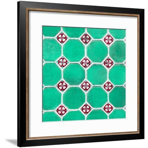 ¡Viva Mexico! Square Collection - Mosaics Coral Green Bricks-Philippe Hugonnard-Framed Art Print