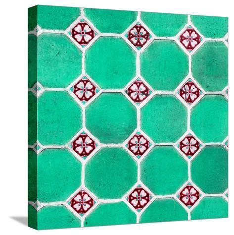 ¡Viva Mexico! Square Collection - Mosaics Coral Green Bricks-Philippe Hugonnard-Stretched Canvas Print