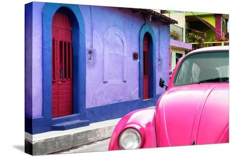 ¡Viva Mexico! Collection - Pink VW Beetle Car and Colorful House-Philippe Hugonnard-Stretched Canvas Print