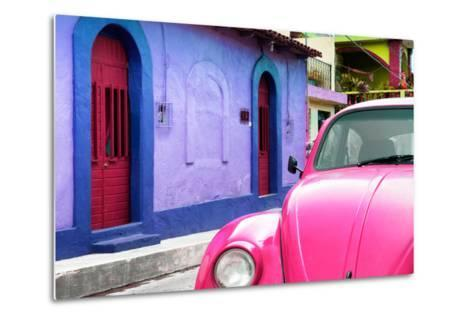 ¡Viva Mexico! Collection - Pink VW Beetle Car and Colorful House-Philippe Hugonnard-Metal Print