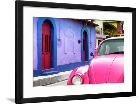 ¡Viva Mexico! Collection - Pink VW Beetle Car and Colorful House-Philippe Hugonnard-Framed Art Print