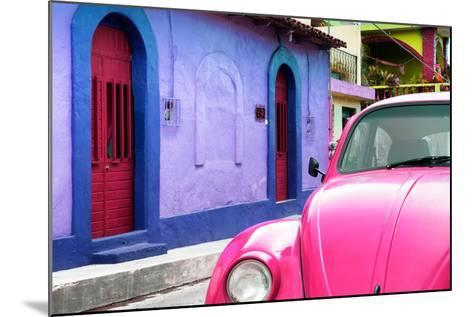 ¡Viva Mexico! Collection - Pink VW Beetle Car and Colorful House-Philippe Hugonnard-Mounted Photographic Print
