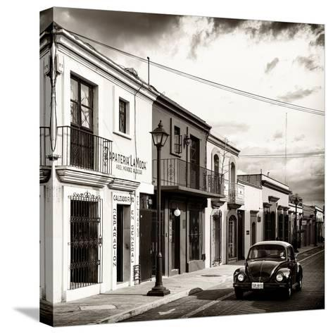 ¡Viva Mexico! Square Collection - Colorful Facades and Black VW Beetle Car V-Philippe Hugonnard-Stretched Canvas Print