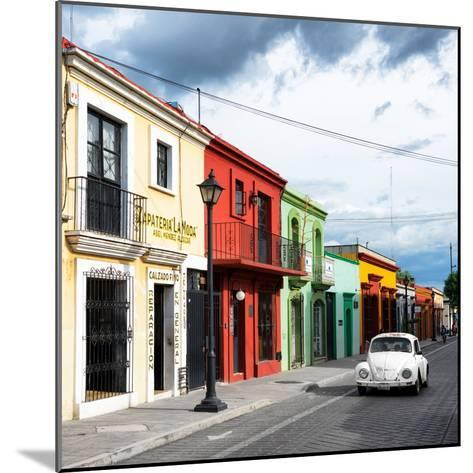 ¡Viva Mexico! Square Collection - Colorful Facades and White VW Beetle Car-Philippe Hugonnard-Mounted Photographic Print