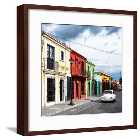 ¡Viva Mexico! Square Collection - Colorful Facades and White VW Beetle Car-Philippe Hugonnard-Framed Art Print