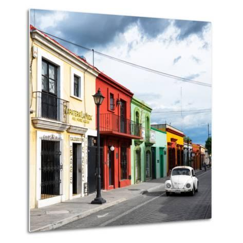 ¡Viva Mexico! Square Collection - Colorful Facades and White VW Beetle Car-Philippe Hugonnard-Metal Print