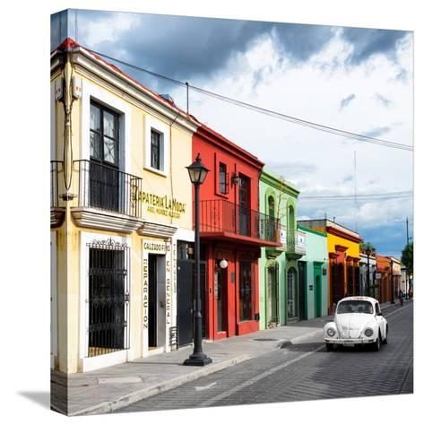 ¡Viva Mexico! Square Collection - Colorful Facades and White VW Beetle Car-Philippe Hugonnard-Stretched Canvas Print