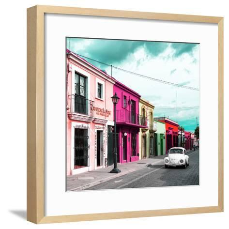 ¡Viva Mexico! Square Collection - Colorful Facades and White VW Beetle Car III-Philippe Hugonnard-Framed Art Print