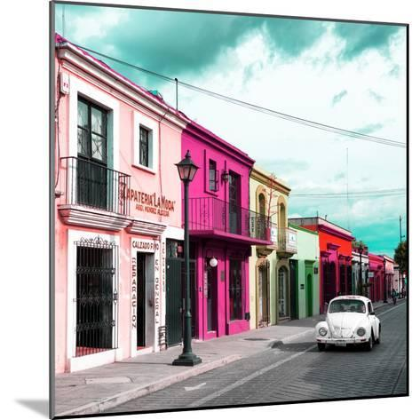 ¡Viva Mexico! Square Collection - Colorful Facades and White VW Beetle Car III-Philippe Hugonnard-Mounted Photographic Print