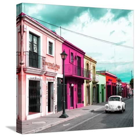 ¡Viva Mexico! Square Collection - Colorful Facades and White VW Beetle Car III-Philippe Hugonnard-Stretched Canvas Print