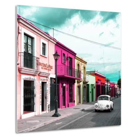 ¡Viva Mexico! Square Collection - Colorful Facades and White VW Beetle Car III-Philippe Hugonnard-Metal Print