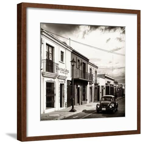 ¡Viva Mexico! Square Collection - Colorful Facades and Black VW Beetle Car V-Philippe Hugonnard-Framed Art Print