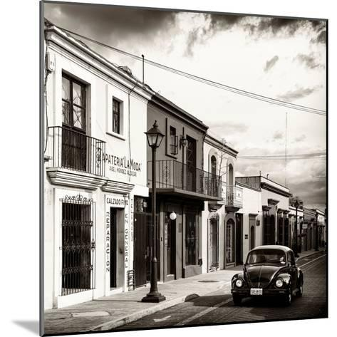 ¡Viva Mexico! Square Collection - Colorful Facades and Black VW Beetle Car V-Philippe Hugonnard-Mounted Photographic Print