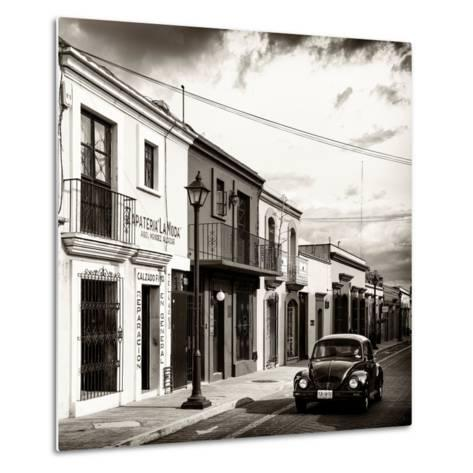 ¡Viva Mexico! Square Collection - Colorful Facades and Black VW Beetle Car V-Philippe Hugonnard-Metal Print
