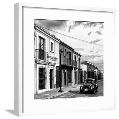 ¡Viva Mexico! Square Collection - Colorful Facades and Black VW Beetle Car VI-Philippe Hugonnard-Framed Art Print