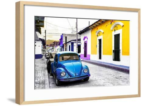 ¡Viva Mexico! Collection - Blue VW Beetle Car and Colorful Houses-Philippe Hugonnard-Framed Art Print