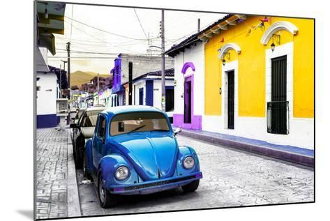 ¡Viva Mexico! Collection - Blue VW Beetle Car and Colorful Houses-Philippe Hugonnard-Mounted Photographic Print