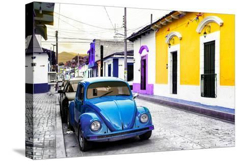 ¡Viva Mexico! Collection - Blue VW Beetle Car and Colorful Houses-Philippe Hugonnard-Stretched Canvas Print