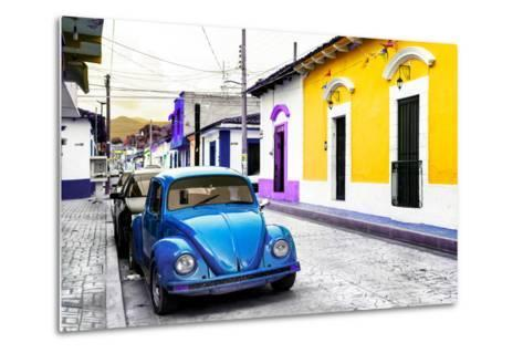 ¡Viva Mexico! Collection - Blue VW Beetle Car and Colorful Houses-Philippe Hugonnard-Metal Print