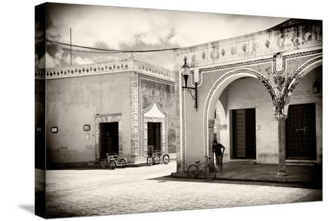 ?Viva Mexico! B&W Collection - Urban Scene in Izamal-Philippe Hugonnard-Stretched Canvas Print