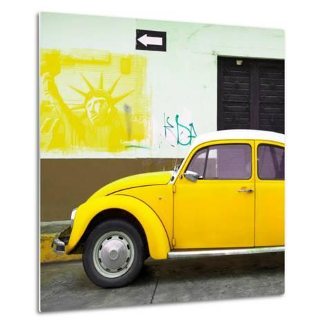 ¡Viva Mexico! Square Collection - Yellow VW Beetle Car and American Graffiti-Philippe Hugonnard-Metal Print