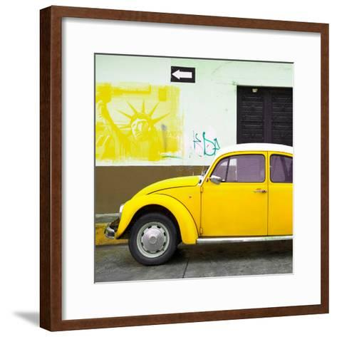 ¡Viva Mexico! Square Collection - Yellow VW Beetle Car and American Graffiti-Philippe Hugonnard-Framed Art Print