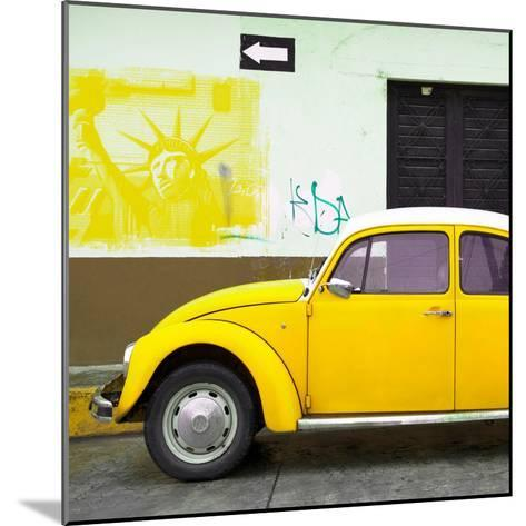 ¡Viva Mexico! Square Collection - Yellow VW Beetle Car and American Graffiti-Philippe Hugonnard-Mounted Photographic Print